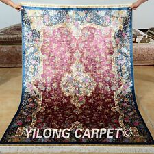Yilong 4'x6' Persian Silk Rugs Handmade Pink Flowers Carpets Hank Knotted 0127