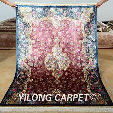 Yilong 4'x6' Persian Silk Rugs Handmade Pink Flowers Carpets Hank Knotted 0127
