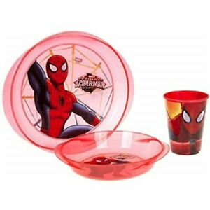 Official Licensed Spider-Man Lunch Stack Set Microwave Oven Safe Cup Plate Bowl