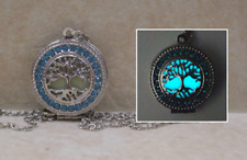 TREE OF LIFE GLOW in the DARK Aqua Crystal Photo Locket Pendant Charm Necklace