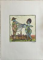 Mino Maccari linoleumgrafia a colori  Figure  70x50 firmata numerata 8/75