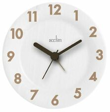 Acctim Epping Round Table or Mantel Clock in White Wood Finish