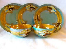 Hand Painted Japan-3 Teal Luster & Gold Overlay Plates with 2 Matching Teacups