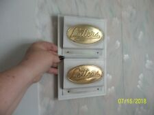 VINTAGE Metal / Tin WALL MOUNTED LETTER HOLDER  ~ White & Gold ~MADE IN ENGLAND