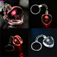 LED Light Fairy Crystal Rose Keychain Love Heart Key Chain Ring Keyring Gift CA