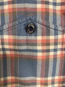 Used Vintage Polo Ralph Lauren RRL Plaid Flannel Workshirt Logo Button XL XXL