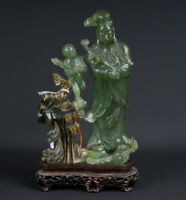 China 20. Siglo Estatua - a Chino Jade Figura de Guanyin - Giada Cinese Chinois