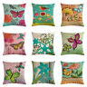 "18x18"" Cotton Linen Cushion Cover Throw Pillow Case Butterfly Sofa Decor Cojines"