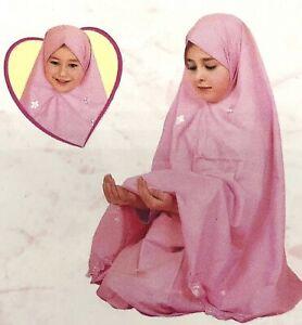 Muslim Girls Prayer Long Dress Hijab Skirt Jilbab 2 PCS