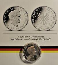 10 EURO 2009 J SILBER: 100. Geburtst. Gräfin Dönhoff st/unc +Kapsel & Zertifikat