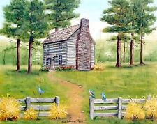 Spring Folk Art, Hickory Tavern, Log Cabin Art Print, Blue Birds, 11x14 Print