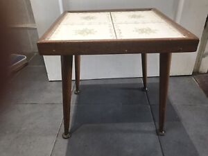 Vintage Retro Tiled Small  Occasional Side Table Mid Century Teak Dansette Legs