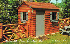 North Bellmore NY~Woodcraft Fence Co~Log Cabin Utility House~Chrome Postcard