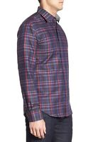 BUGATCHI Shaped Fit Long Sleeve Check Sport Shirt Blue Black Red White NWT