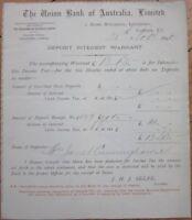 'Union Bank of Australia' 1890 'Deposit Interest Warrant Certificate'