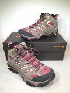 Merrell Moab 2 Mid WP Women's Size 7.5 Gray/Pink Hiking Boots X6-1039