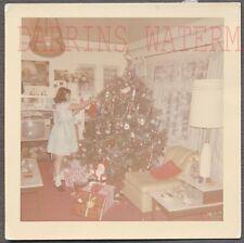 Vintage Snapshot Photo Cute Girl w/ Christmas Tree TV Home Interior 717588