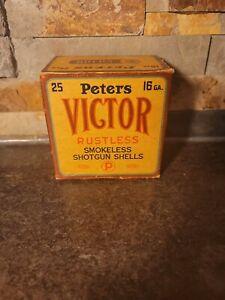 Vintage RARE PETERS VICTOR 16 Gauge Shotgun Shell Box (Empty)