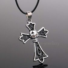 Black Floral Skull Cross Stainless Steel Pendant Necklace Leather Choker Chain