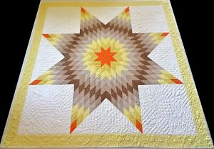Unused Antique 1930's Hand Stitched 8-9 spi Yellow & Brown Lone Star Quilt 82x79