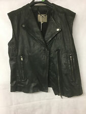 Muubaa Women's Black Leather Gilet Waistcoat. UK 10. RRP £299.