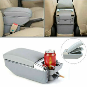 7USB Rechargeable Car Central Container Armrest Storage Box w/ Light Universal
