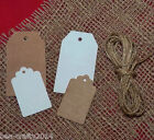 10/25/50 KRAFT BROWN/WHITE PAPER BLANK LABEL GIFT TAGS + STRING #CRAFTS