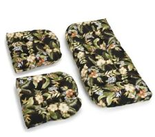 Outdoor All Weather 3pc Wicker Settee Chair CUSHION SET Black Floral