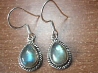 Labradorite Teardrop with Rope Style Accents 925 Sterling Silver Dangle Earrings