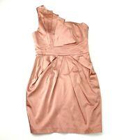 Sheike Women's Sz 10 Peach Pink One Shoulder Short Bodycon Party Cocktail Dress