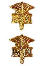 RN Caduceus Lapel Tacks Collar Cap Tac Nurse Pin Set of 2 Gold Plated New