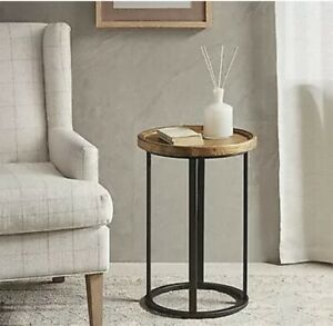 Martha Stewart Round Accent Table With Oak Top & Iron Finish Leg MT120-0026 New