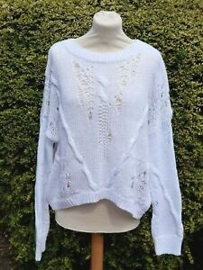 360Cashmere JUMPER WHITE COTTON ETHEL CABLE KNIT OVERSIZED Size S NWT £190