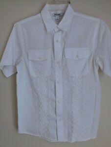 Boy's Dressy White Shirt, Short Sleeve, Embroidered Details,  Old Navy, Size L