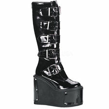 Demonia Transformer-800 Ladies Goth Punk Cyber Panels Black Mat Knee Boots