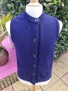 Guernsey Woollens Sleeveless Cardigan Waistcoat Navy Blue