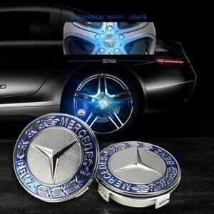 4 Set of Floating LED Wheel Rim Center Caps 75mm For Mercedes Benz Emblem Blue