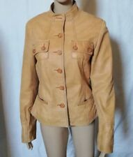 ARMA Women Light Brown Leather Jacket Size UK 14