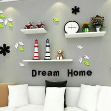 Set of 3 Modern HIGH Shelf Floating Wall Shelves White Bookcase Display