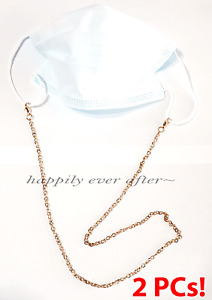 2 PC Face Mask Necklace, Mask Holder, Mask Strap, Gold Pleated Chain *US SELLER*