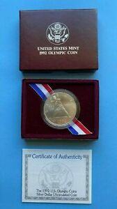 BASEBALL 1992 D Olympic $1 90% Silver Dollar Coin US Mint. In OGP w/case & COA