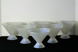 Set of (6) Antique Art Deco French Iridescent Opalescence Large Sherbet Glasses