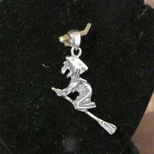 STERLING SILVER WITCH ON A BROOMSTICK PENDANT SOLID.925 /NEW NICKEL FREE JEWELER
