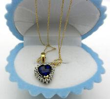 Heart of Ocean~10k Multi Tone Gold Blue Sapphire Diamond Accent Charm Pendant