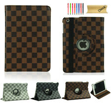 For iPad 2 3 4/Air/Air2/Mini 360 Rotating Grid PU Leather Case Smart Cover Stand
