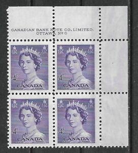 Canada 1953 QEII Karsh definitive 4¢ SC 328 Plate Block 6 UR MNH