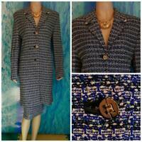 ST JOHN Collection Cobalt Blue Jacket Coat L 10 12 DUSTER DRESS Multicolor