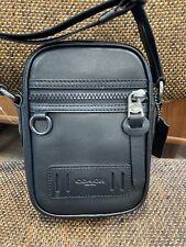 $250 NWT Coach Authentic Men's Terrain Crossbody Black Calf Leather Bag F72963