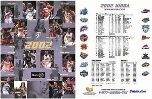 2002 WNBA roster photo sheet Jennifer Azzi Sue Bird Tina Thompson Monica Maxwell