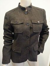 Theory Brown Speckled Wool Tweed Military Style Jacket 8
